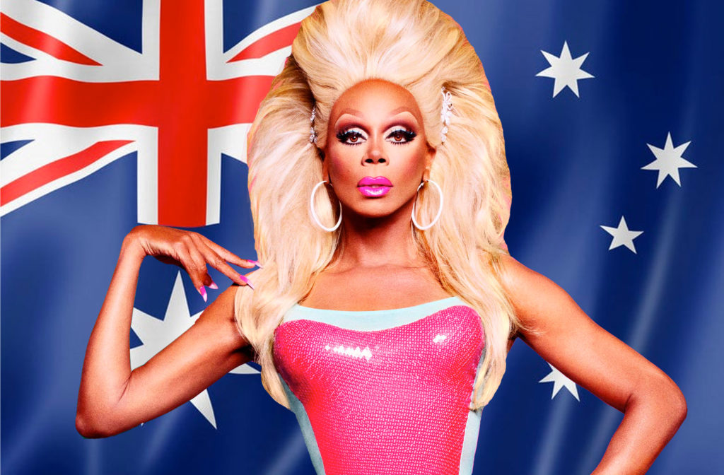 RuPaul in front of an Australian flag