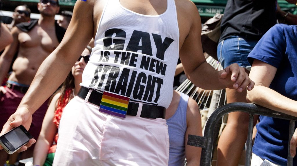 File photo of a man at an LGBT+ Pride parade in New York.