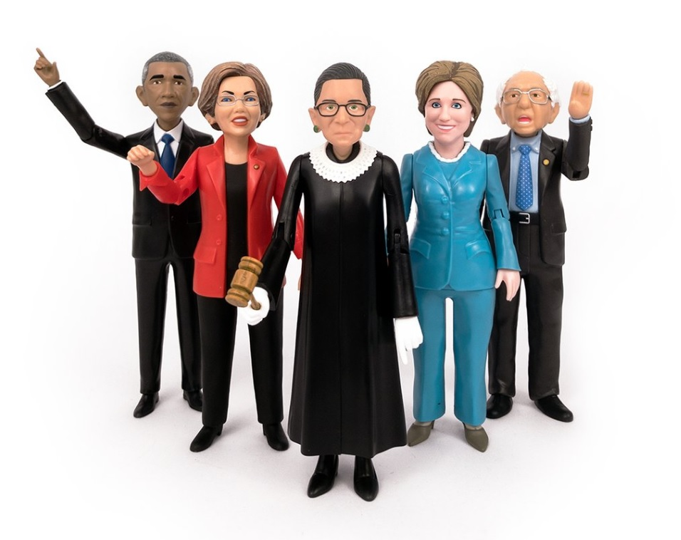 Barack Obama, Elizabeth Warren, Ruth Bader Ginsburg, Hillary Clinton and Bernie Sanders action figures