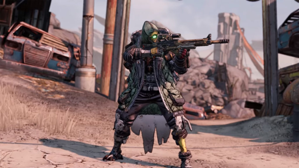 Borderlands 3 character FL4k, a heavily armoured robot, holds a gun