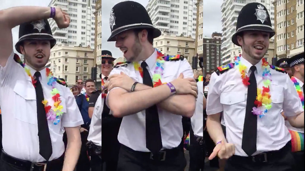 A police officer dancing
