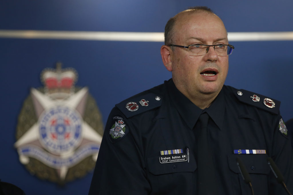 Graham Ashton in full police uniform at a press conference