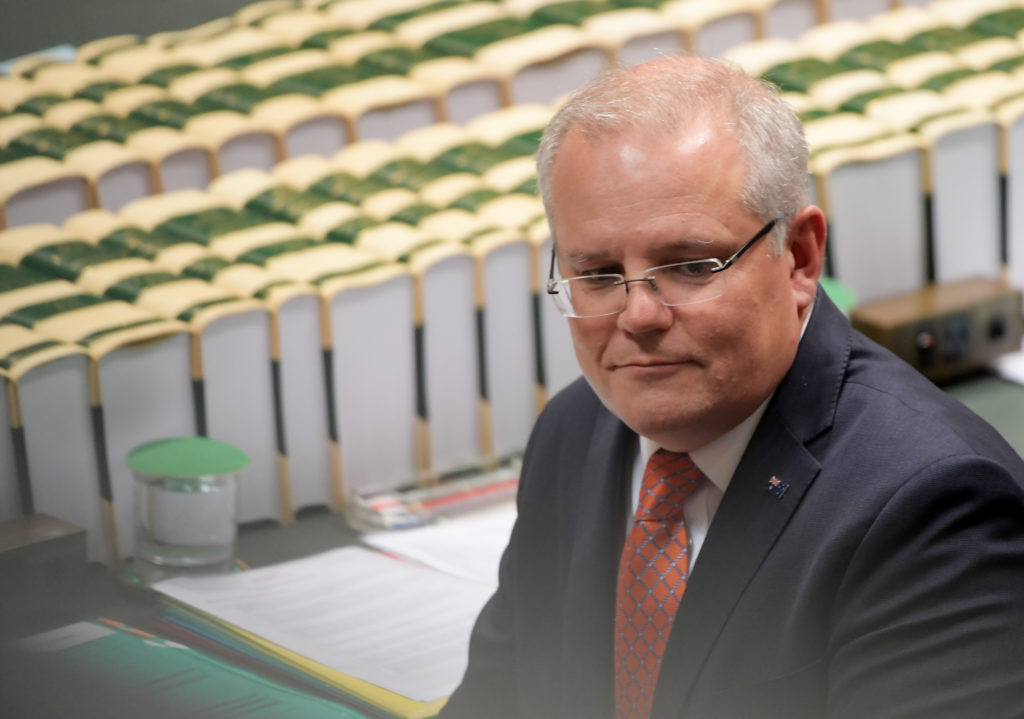Prime Minister Scott Morrison during question time in the House of Representatives at Parliament House on July 4, 2019 in Canberra, Australia.