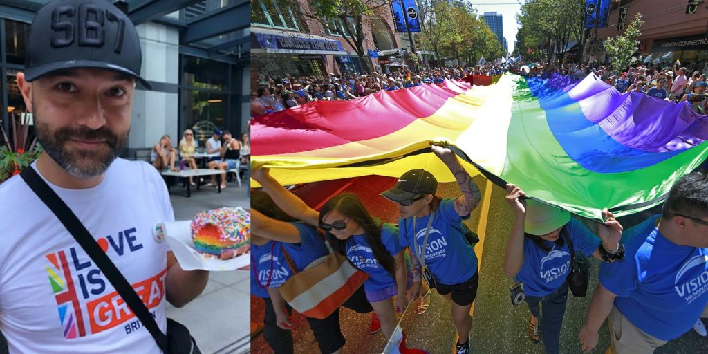 Evangelical author Joshua Harris took part in the Vancouver Pride parade after renouncing his anti-LGBT beliefs.