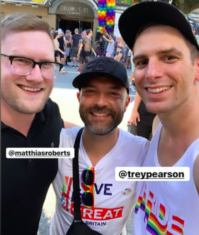 Joshua Harris posted a selfie with Everyday Sunday singer Trey Pearson and Queerology podcast host Matthias Roberts
