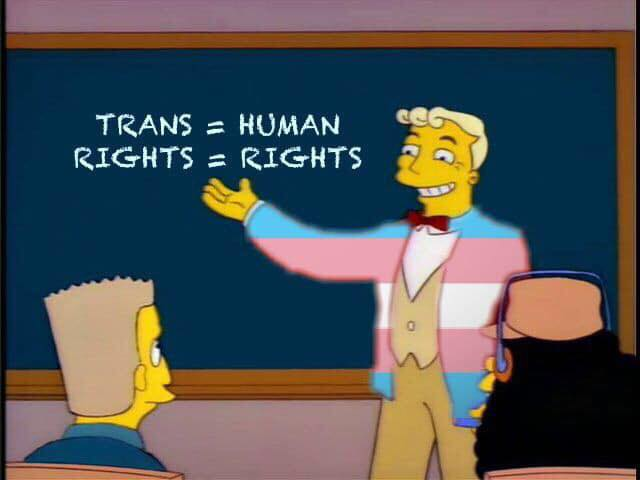 Well, there's nothing on earth like genuine, bona fide, electrified, six-car trans rights. (Ireland Simpsons Fans/20th Century Fox Television)