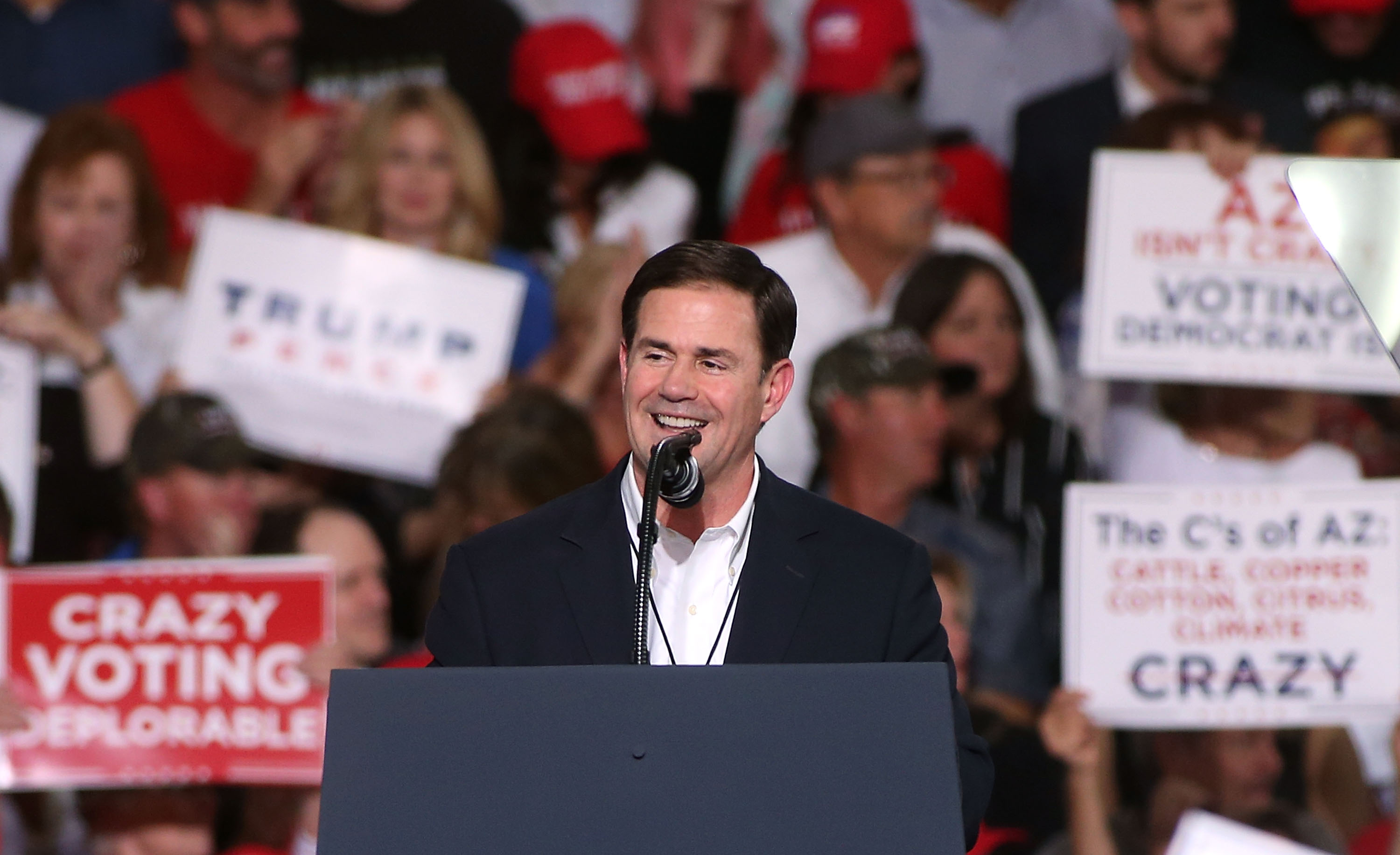 Arizona governor Doug Ducey speaks during a rally for President Donald Trump