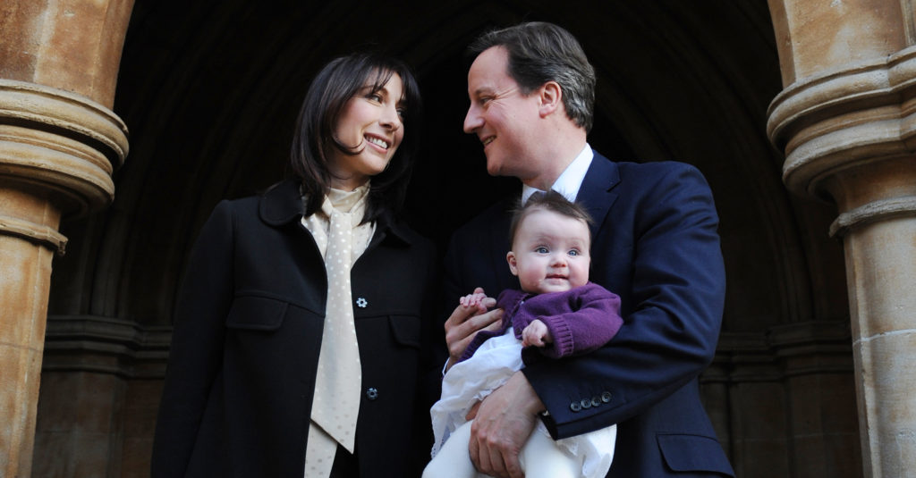 Former UK Prime Minister David Cameron and his wife Samantha Cameron with their daughter Florence.
