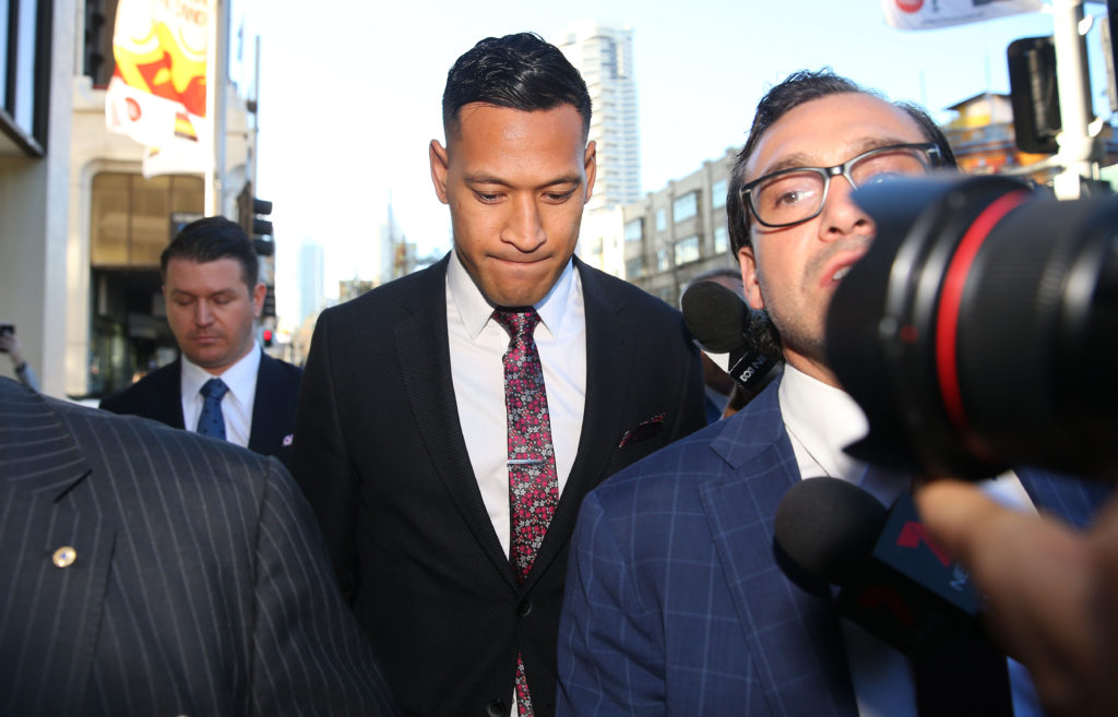 Israel Folau arrives ahead of his conciliation meeting with Rugby Australia at Fair Work Commission on June 28, 2019 in Sydney, Australia.