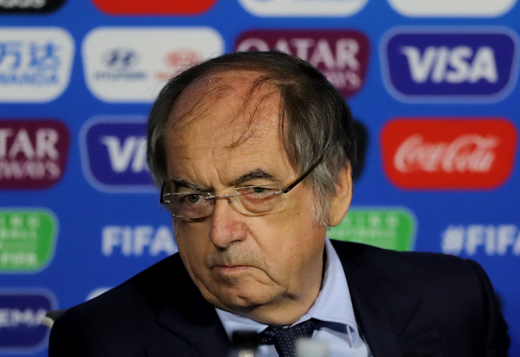 French Football Association President Noël Le Graët speaks during the FIFA Closing Press Conference at Stade de Lyon on July 05, 2019 in Lyon, France.
