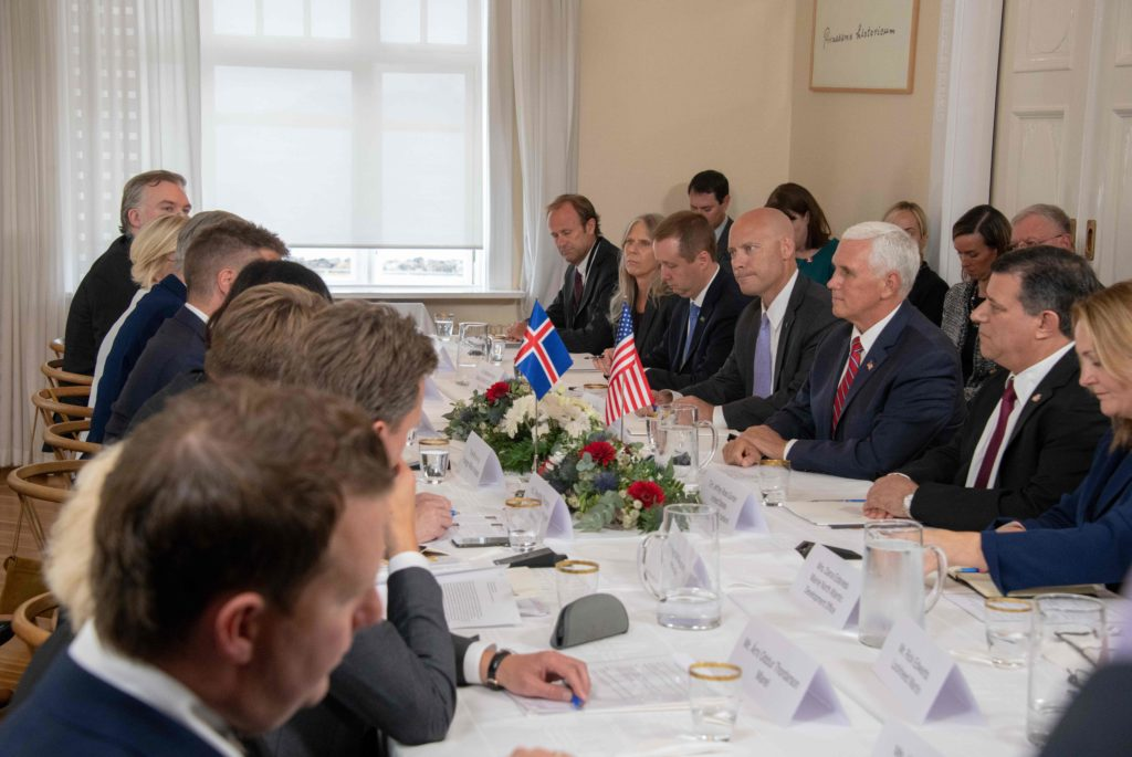 US Vice President Mike Pence attends a roundtable discussion on US-Iceland trade and investment relations with the Minister for Foreign Affairs of Iceland at Hofdi House in Reykjavik on September 4, 2019.