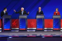 Mayor of South Bend, Indiana, Pete Buttigieg, Vermont Senator Bernie Sanders, former Vice President Joe Biden and Massachusetts Senator Elizabeth Warren during the third Democratic primary debate