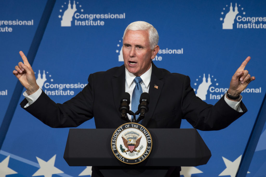 Vice President Mike Pence speaks at the 2019 House Republican Conference Member Retreat Dinner in Baltimore on Friday September 13, 2019.