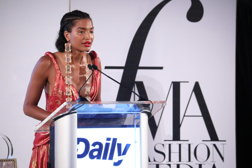Indya Moore speaks on stage at The Daily Front Row's 7th annual Fashion Media Awards on September 05, 2019 in New York City.