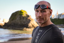 Gareth Thomas prepares to have a final swim ahead of IRONMAN Wales. (Huw Fairclough/Getty Images)