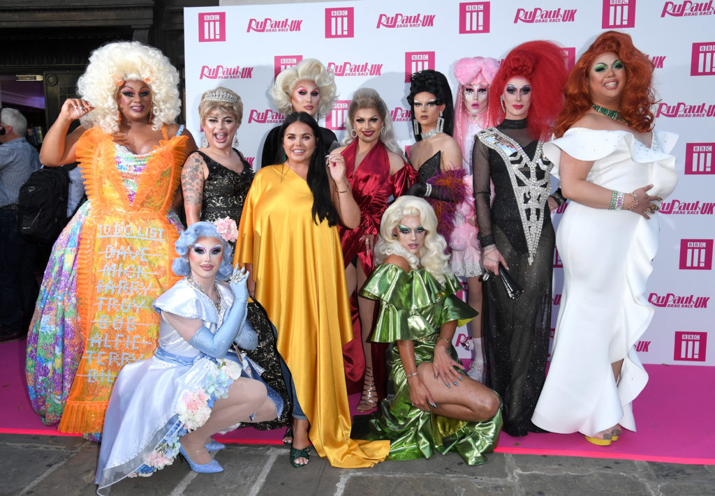 (L-R) Vinegar Strokes, Baga Chipz, The Vivienne, Cheryl Hole, Gothy Kendoll, Scaredy Kat, Divina De Campo, Sum Ting Wong, Blu Hydrangea, Scarlett Moffatt and Crystal at the RuPaul's Drag Race UK launch. (Karwai Tang/WireImage)