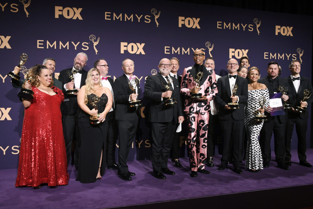 RuPaul and the team behind RuPaul's Drag Race pose with awards for Outstanding Competition Program in the press room during the 71st Emmy Awards at Microsoft Theater on September 22, 2019 in Los Angeles, California.