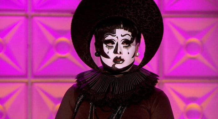 RuPaul's Drag Race Kim Chi's black and white realness look.