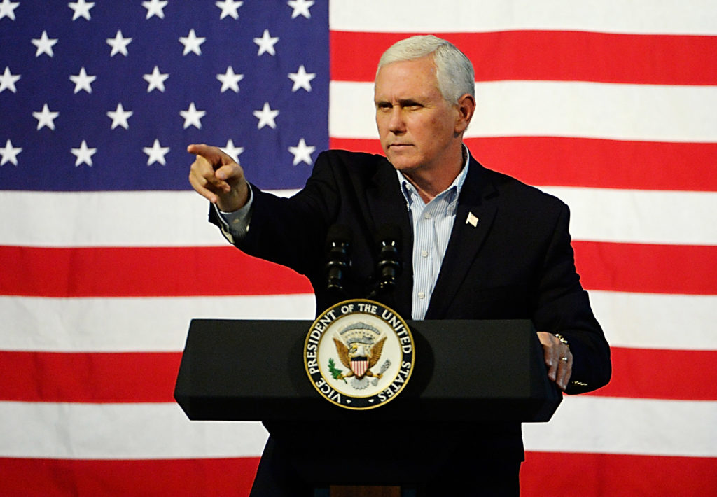 US Vice President Mike Pence speaks during a campaign rally