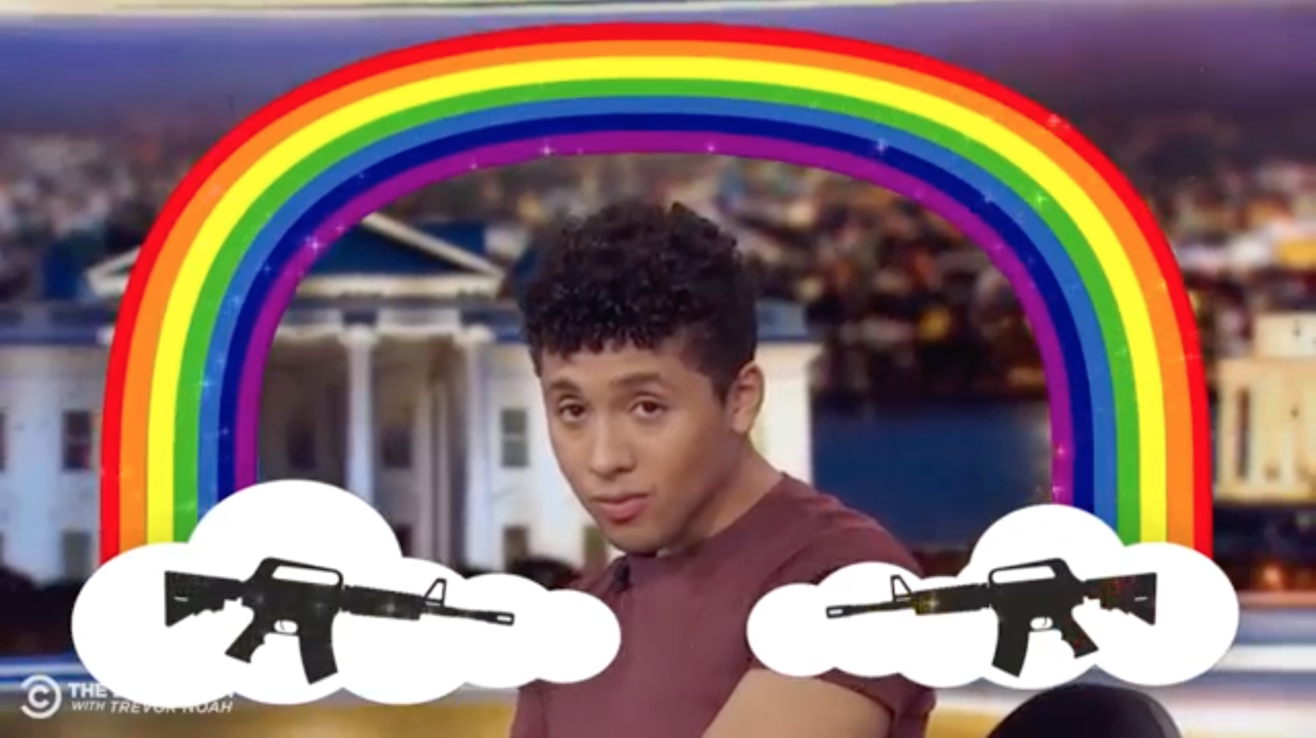 Gay comedian Jaboukie Young-White pitched quite the idea to curb escalating gun violence (YouTube/Comedy Central)