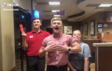 Blake Foster and two colleagues lip-synced to a Hannah Montana song in Chick-fil-A shop (TikTok)