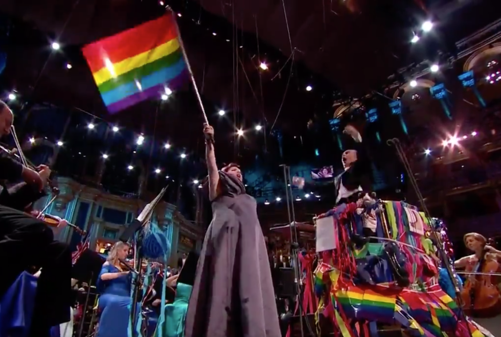 Bisexual opera singer Jamie Barton, waving a Pride flag during her rendition of 'Rule Brittania' (Screenshot/BBC)