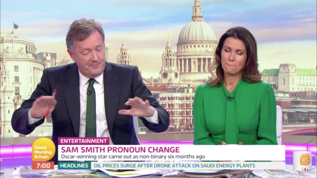 Piers Morgan suggests that non-binary singer Sam Smith came out to promote his music. (Screen capture/ITV)