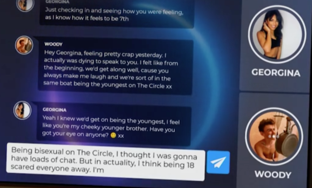 Woody Cook nervously came out to Georgina in a touching message. (Channel 4/The Circle)