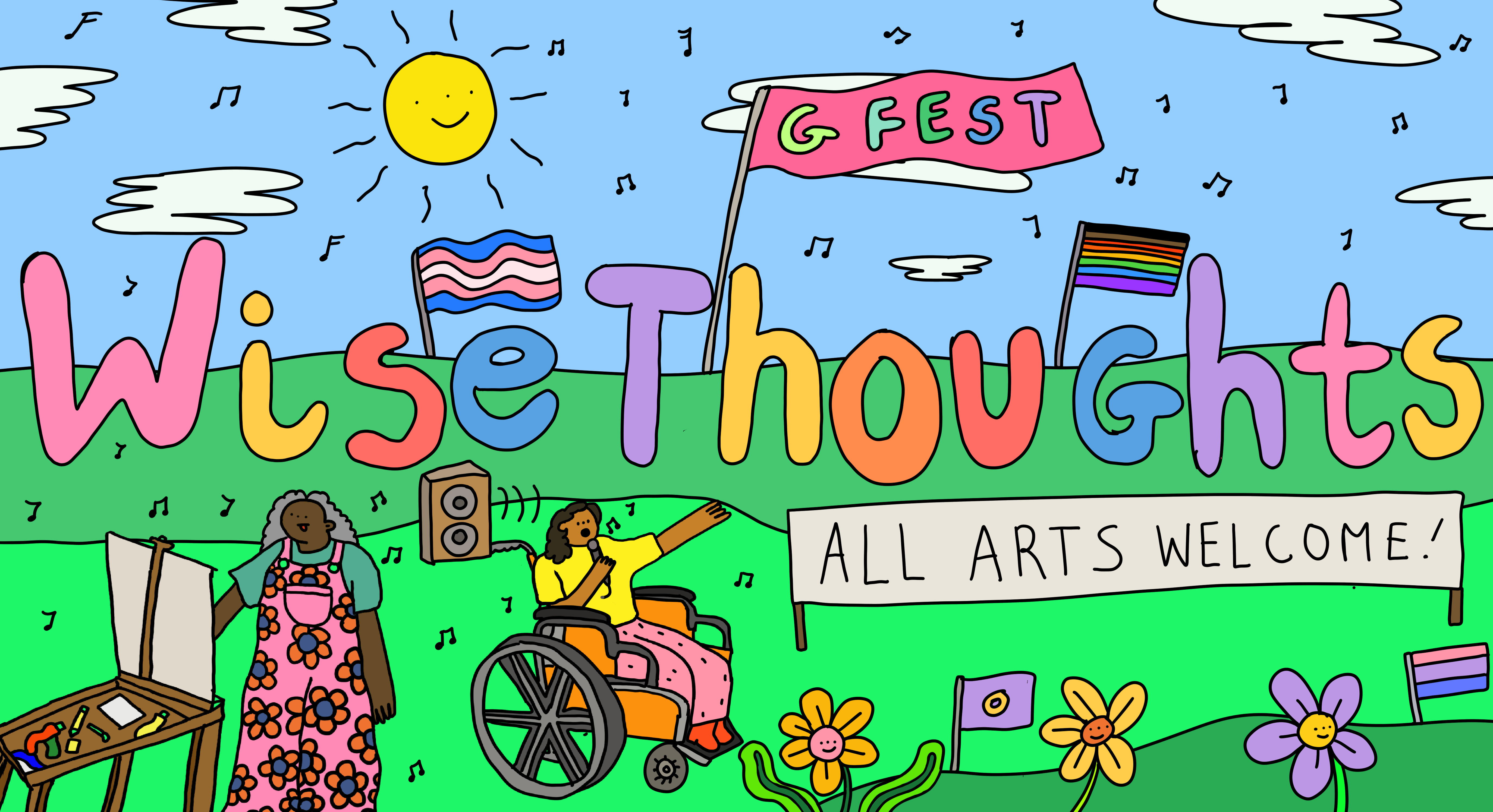 Wise Thoughts' LGBT+ arts festival, GFEST (Wise Thoughts illustration by artist Wednesday)