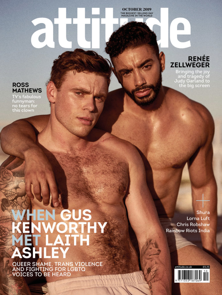 Laith Ashely covers the October issue of Attitude alongside actor Gus Kenworthy (Attitude/Santiago Bisso)