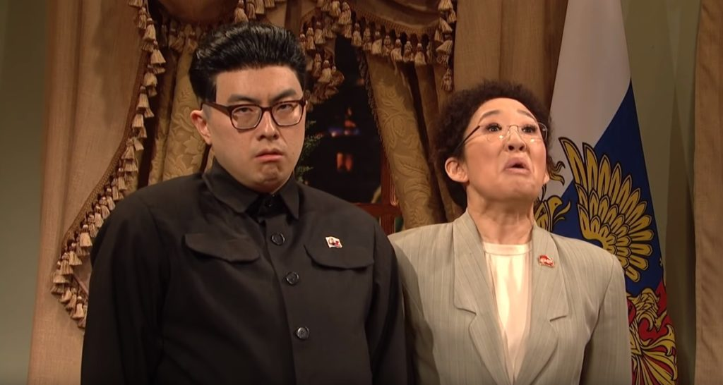 Bowen Yang as Kim Jong-un with Sandra Oh on Saturday Night Live
