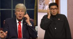 Bowen Yang as Kim Jong-un (R) on SNL