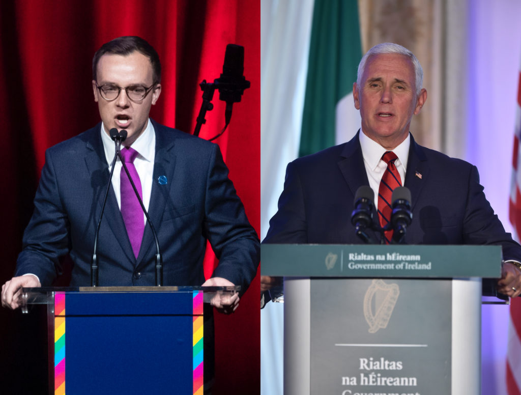 Chasten Buttigieg (left) talking at the DNC LGBTQ Gala in New York City and Mike Pence at a press conference in Ireland (Drew AngererPool/Getty Images)