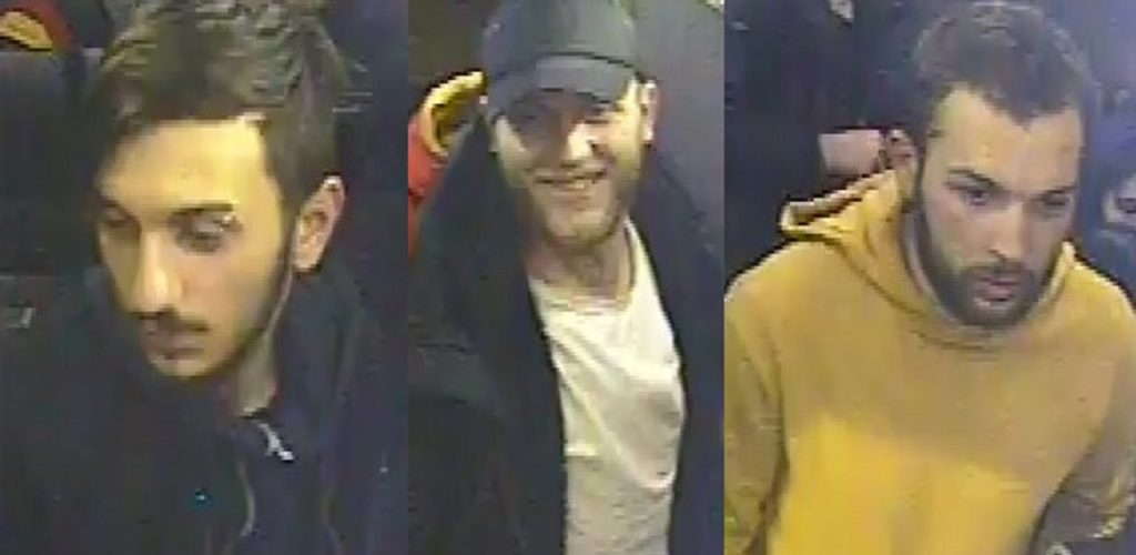 Police are seeking three men over the attack near Canal Street in Manchester