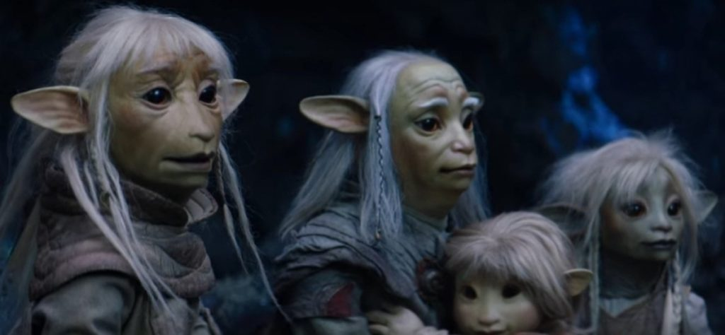 Deet with her two fathers and little brother in The Dark Crystal: Age of Resistance