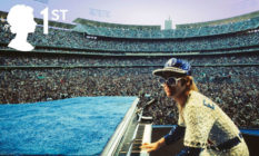 Elton John playing the piano at Dodger Stadium