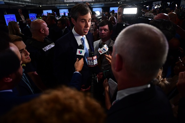 Democratic presidential hopeful Beto O'Rourke speaks with the press after the third Democratic debates. (FREDERIC J. BROWN/AFP/Getty Images)
