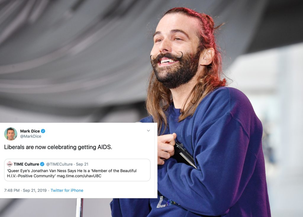 A Conservative conspiracy theorist tried to come for Jonathan Van Ness, and people returned the favour. (Getty/Jeff Kravitz/FilmMagic for Clusterfest)