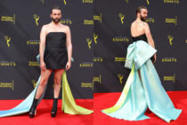 Jonathan Van Ness wore a dazzling dress by Christian Siriano to the 2019 Creative Arts Emmys. (Getty)