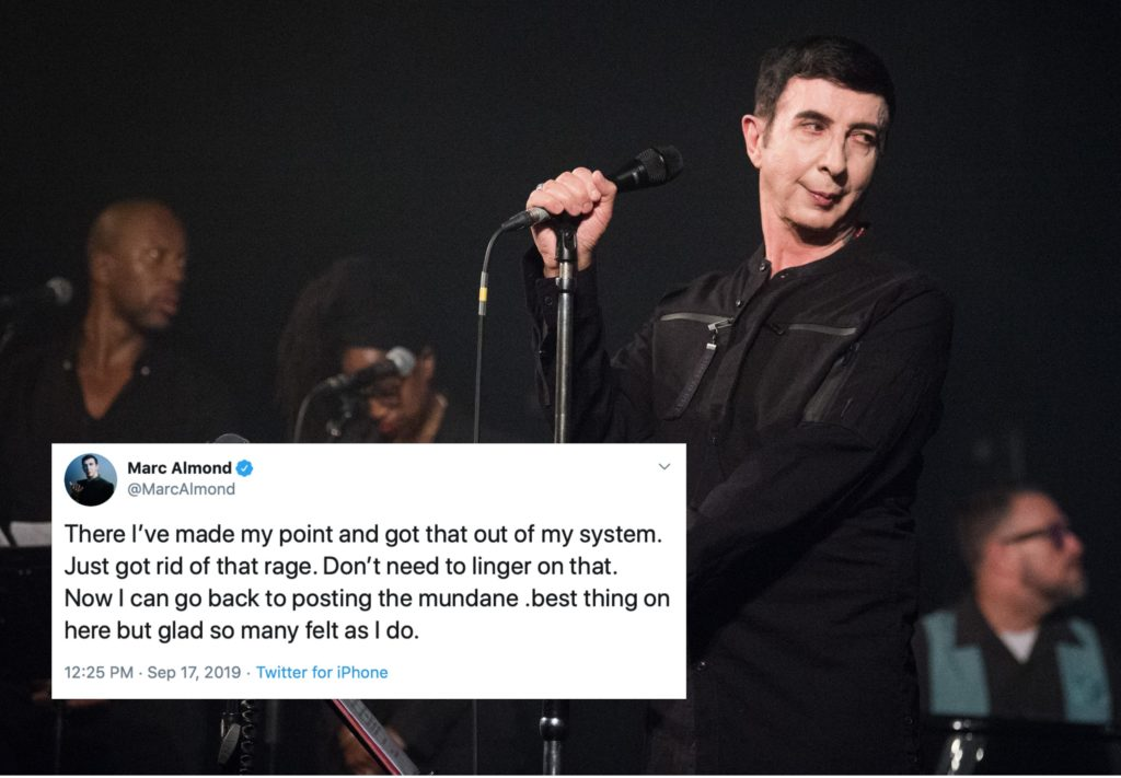 Marc Almond tweeted a series of since deleted anti-trans messages. (David Wolff/Patrick/Redferns via Getty/Twitter)