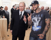 Vladimir Putin and Timati doing peace signs