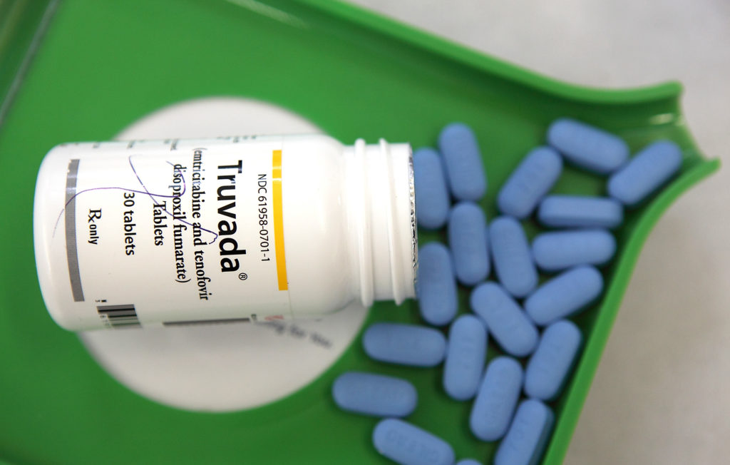 A bottle of Truvada and PrEP pills
