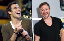 Singer Will Young in 2003 (L) and in 2019. V-necks are timeless, apparently. (Brian Rasic via Getty Images/Jeff Spicer via Getty Images)