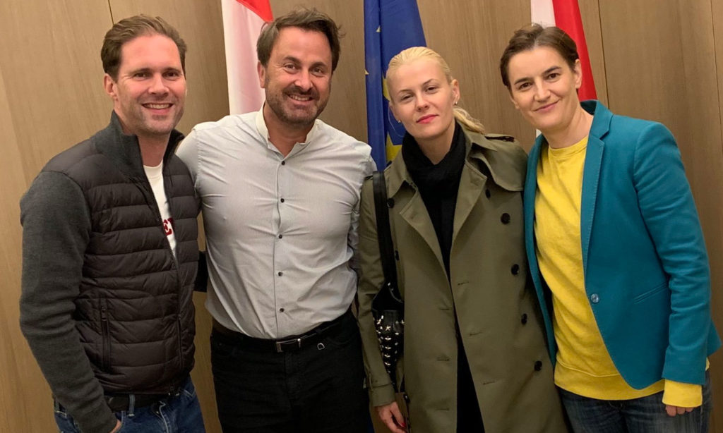 Luxembourg's prime minister Xavier Bettel and Serbia's prime minister Ana Brnabić
