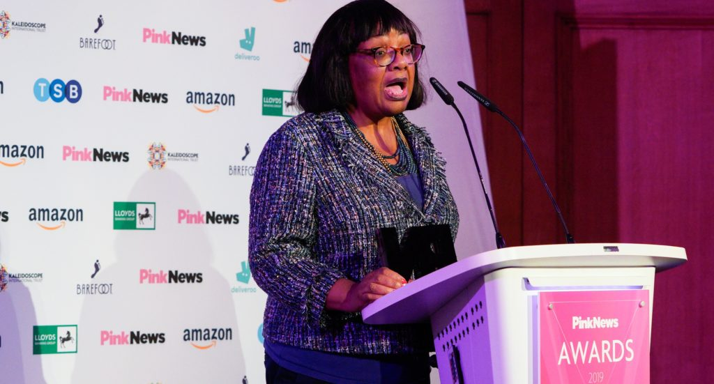 Diane Abbott at the PinkNews Awards