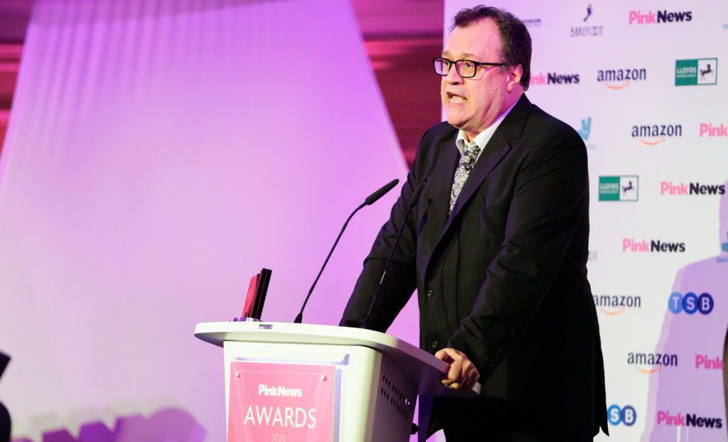Russell T Davies accepted the award for Lifetime Achievement at the PinkNews Awards 2019. (Paul Grace)