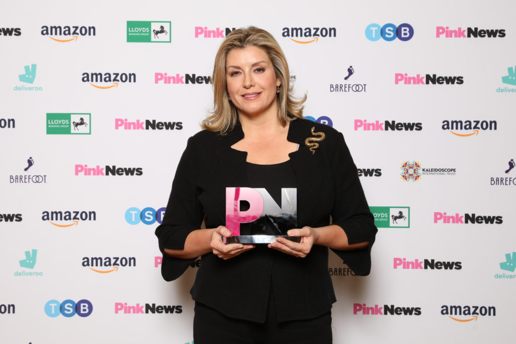 Ex-equalities minister Penny Mordaunt hints at long-awaited results of gender recognition consultation at PinkNews Awards