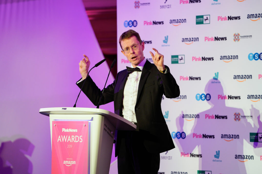 West Midlands mayor Andrew Street at the PinkNews Awards