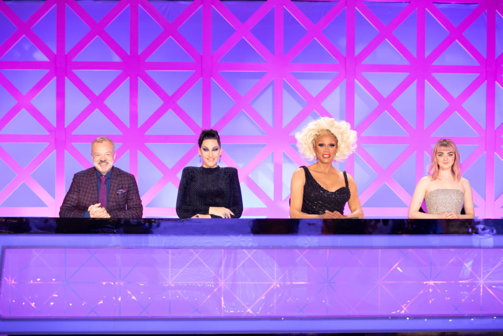 Michelle Visage on the Drag Race UK judging table with RuPaul, Graham Norton and Maisie Williams