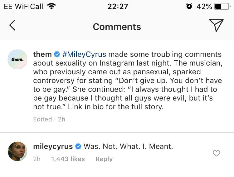 Miley Cyrus sought to clarify herself amid criticism. (Screen capture via Instagram)